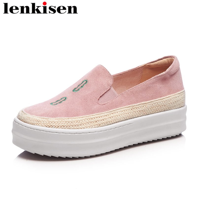 Lenkisen 2018 embroidery round toe slip on platform causal shoes med heel print runway mixed colors women vulcanized shoes L26