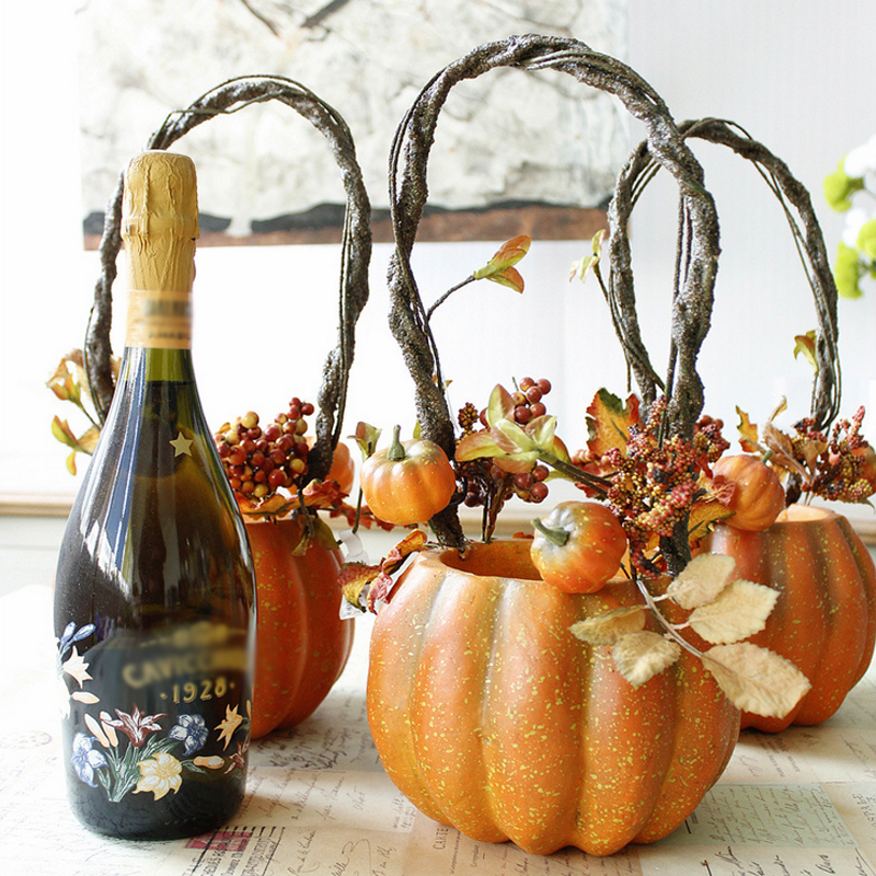 Vintage Artificial Pumpkin Flower Pots Pumpkin Vases For Halloween