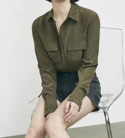 Women Silk Solid Green Blouse 2019 Ladies Long Sleeve Button Top Shirt