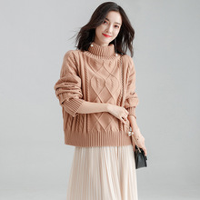 Pullover Women Sweaters Autumn Winter Fashion Plus size Turtleneck Thick Warm Jumper Tops Female Solid Twist Knitwear Sweater