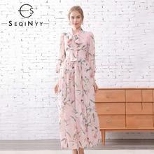 SEQINYY Pink Long Dress 2020 Spring Summer New Fashion Design Sleeve Bow Romantic Lily Flowers Print Elegant Chiffon