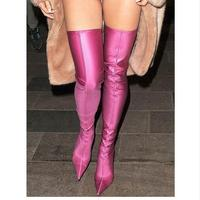 2018 New style Fashion Runway Stretchy Sock Boots Pointy Toe Stiletto Heel Thigh High Boots Shoes Woman Crotch Booties