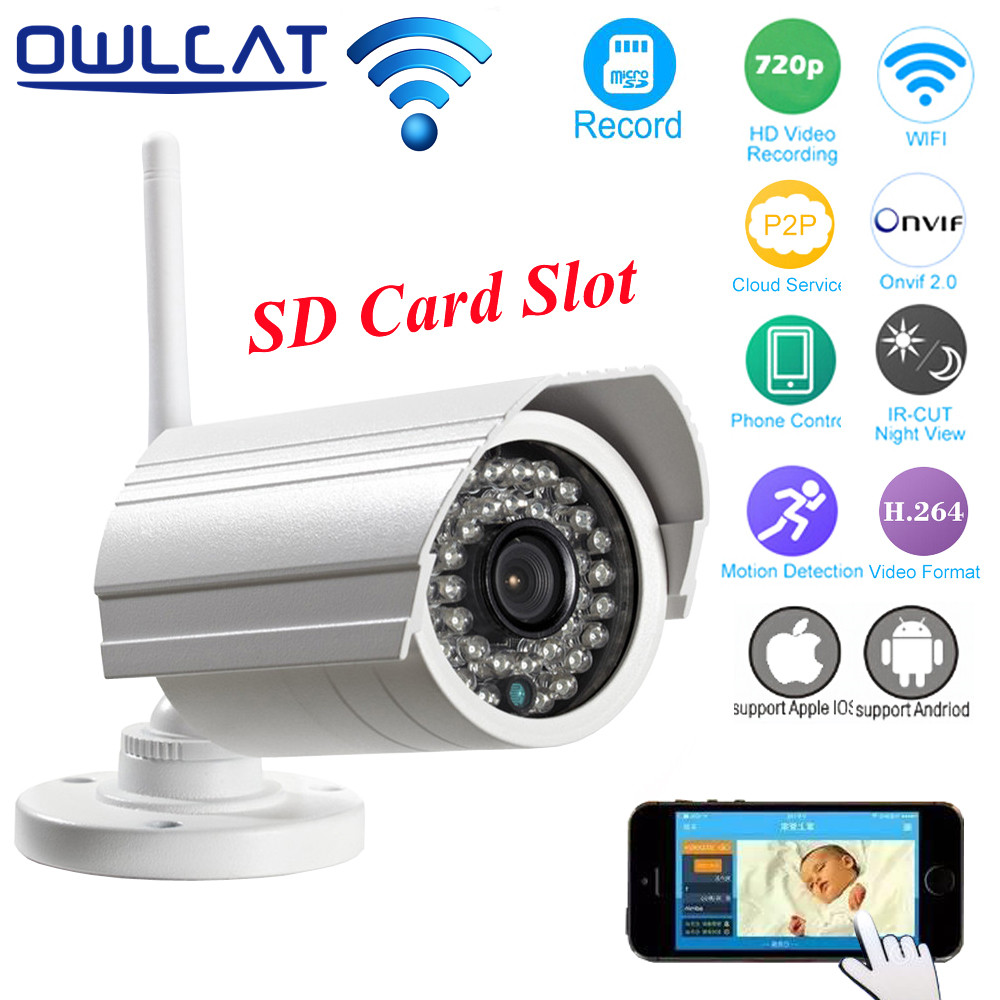 OwlCat HI3518E HD 720P Wireless IP Camera Wifi Waterproof Outdoor Network Surveillance Security CCTV Camera ONVIF SD Card Slot owlcat wifi ip camera bullet outdoor waterproof onvif wireless network kamara 2mp full hd 1080p 720p security cctv camera