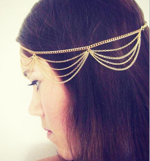 t64 2016 New Beach Multi Layer Metal Gold Color Head Chain Hair Jewelry Tassel Pearl Leaves Bindi hair accesories Boho Headband