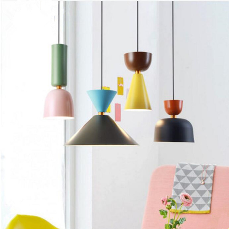 Modern indoor lamp pendant light europe colorful Macarons LED indoor lighting restaurant bar decorative light fixture