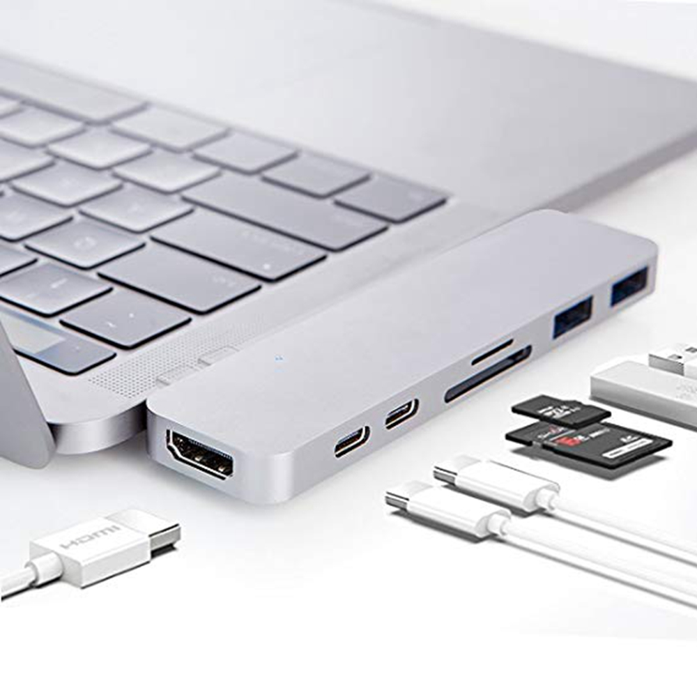 Doble cabeza TYPE-C a 2xUSB3. 0 HUB + SD/lector de tarjetas TF + USB-C Datos + PD carga + HDMI 4 K, para MacBook Pro 2017/2016 13