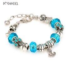 Poshfeel Summer Jewelry 2017 Anchor Charm Bracelets Women Diy Blue Crystal Bracelets Bangles Femme Silver 925 Jewelry Mbr170229