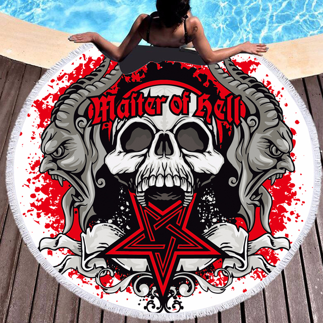 SKULL MOTORCYCLE ROUND BEACH TOWELS (6 VARIAN)