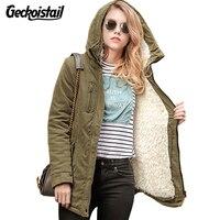 Geckoistail 2018 New Fashional Women jacket Thick Hooded Outwear Medium-Long Style Warm Winter Coat Women Plus Size Parkas