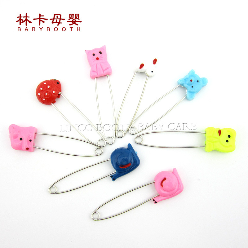 4pcs Cartoon Animal Fruit Baby Safety Stainless Steel Cloth Bib Diaper Safety Pin Multi Purpose Metal Plastic Pin