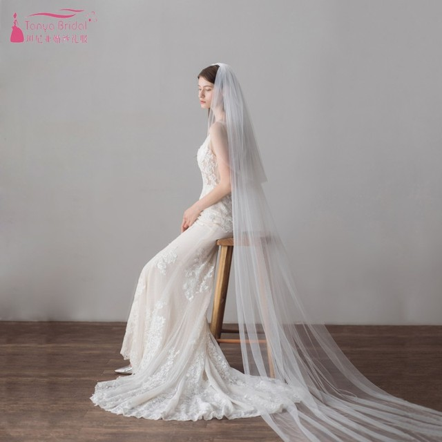 Two Layers Tulle 3M length Wedding Veil Ivory Elegant Simple Cathedral Wedding Veils Long 3 Meters velos de novia 2018 DV615