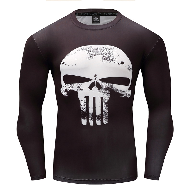 Men's t-shirt leisure fitness tops summer 3D Superhero Warrior Punisher Fitness menswear Gyms fashion work out Fitness t-shirt