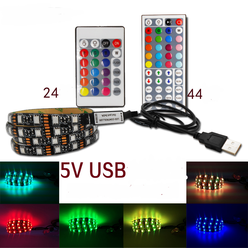1m 3m 5m IP20 5050 SMD DC 5V USB Charger Power Supply LED Strip Light RGB Remote Control USB Cable Adapter LED Lamp Decor Light