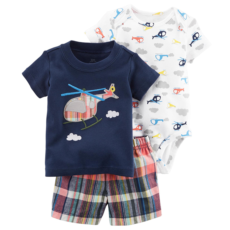2018 New Baby Boy Clothing Sets Helicopter Top+Floral Pajamas+Plaid Pants 3 Pc Infant Co ...