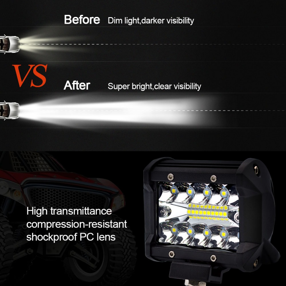 Image 5 - Safego 4 5 Inch 60W 72W LED Work Light Bar 12V Spot Flood Chips Offroad 4x4 Fog Light Driving Light Lamp For Truck Boat Pack 24V-in Light Bar/Work Light from Automobiles & Motorcycles