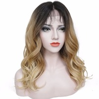 StrongBeauty Women's Synthetic Lace Front wig Kanekalon Hair Dark Roots Strawberry Blonde Ombre Natural Wave Long Hairstyle Wigs