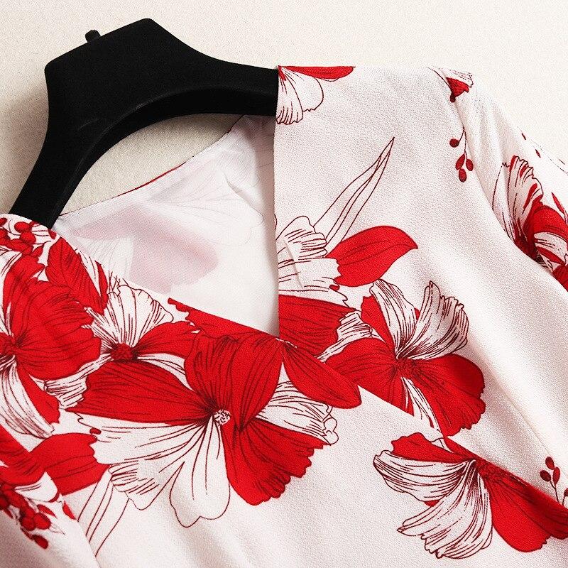 Robes Ukraine Mousseline Mode 3 Ceinture Printemps Grande En Femmes Robe Nouveau Taille Imprimées Fleurs V Manches Noir blanc 4 Laçage Col 2019 gqW4IFnU