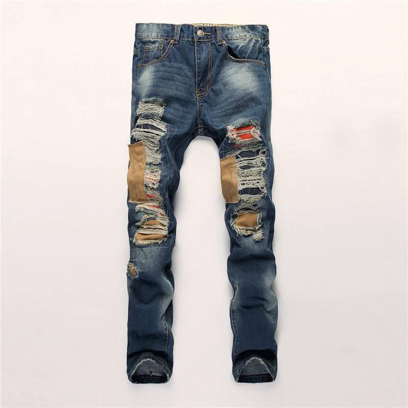 #1508 2017 Slim fit jeans Mens designer clothes Patchwork Straight Biker Denim jeans men Vaqueros hombre Ripped jeans for men
