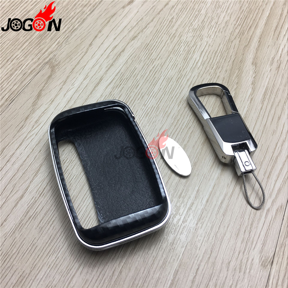 Carbon Fiber Look Smart Key Fob Case Bag Shell Holder Key Chain Ring Cover For Land Rover LR Range Rover Velar 2017 2018