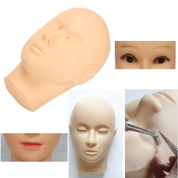 Wholesale Training Mannequin Flat Head Practice Eye Lashes Eyelash Extensions Silicone Make Up Tools