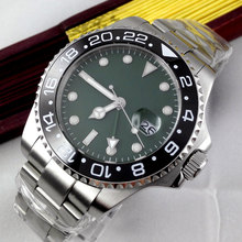43mm sterile green olive dial GMT Luxury Brand Bliger Mechanical Watches Ceramic Bezel sapphire automatic movement men's watch все цены