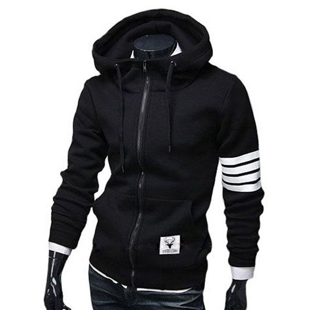 2016 Fashion Brand Men Hoodies with Zipper Hoodie Hooded Long Sleeve Sweatshirt Mens Slim Sportsuit Casual White/Black Moleton