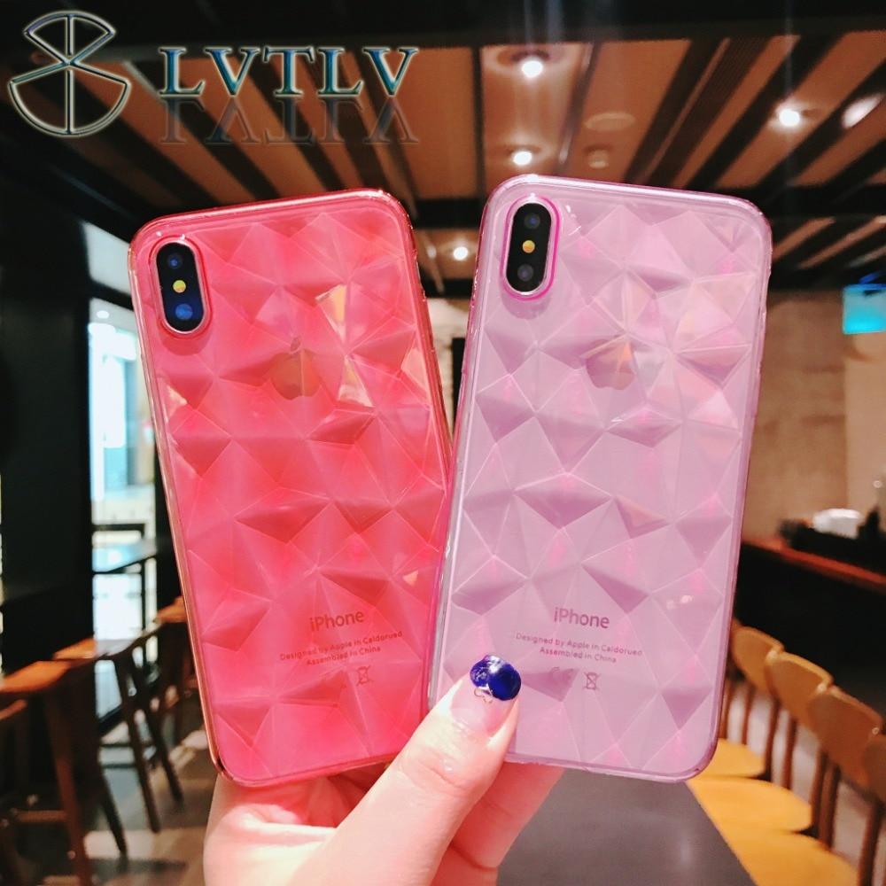LVTLV Diamond Texture Case For iPhone 6 6s 7 8 Plus X Soft