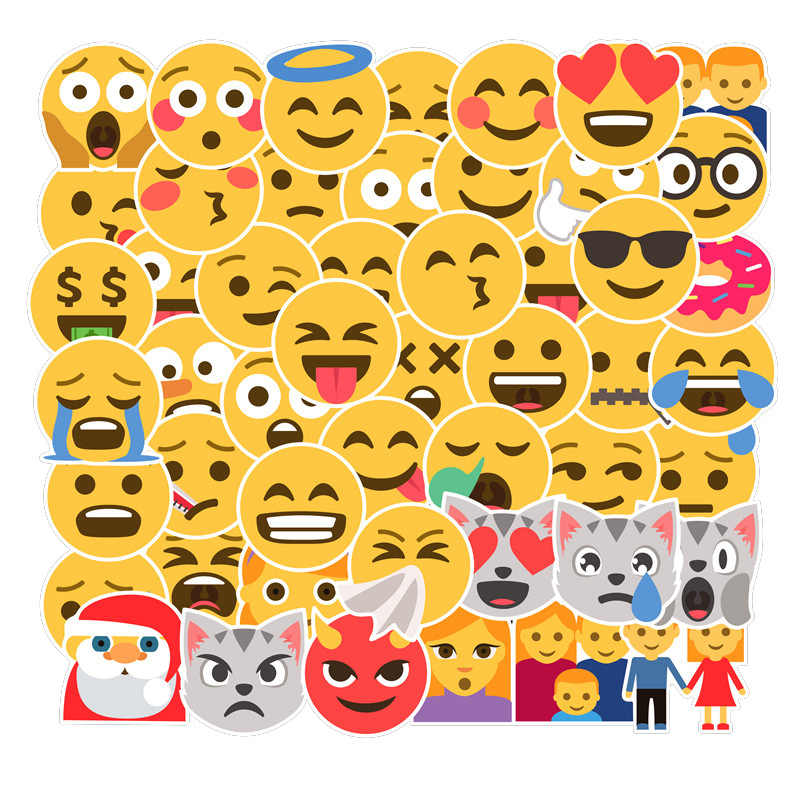 50PCS Kawaii Smile Emoji Stickers Scrapbooking Mobile Phone Laptop Pegatinas DIY Sticker Classic Toy For Children Birthday Gifts