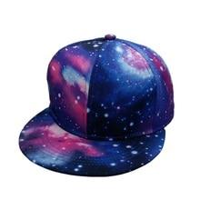 4fa4b72e6b6 Fashion Unisex Printing Starry Sky Baseball Cap Flat Brim Women Summer Hip  hop Hat Men Galaxy · 6 Colors Available