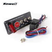 KOWELL Carbon Fiber Ignition Switch Panel Kit LED Light Toggle Engine Start Push Button For Racing