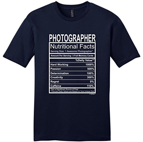 MenS T Shirt Photographer Gift Nutritional Facts Gag Gifts Funny Young Mens T Shirt Fashion T Shirts