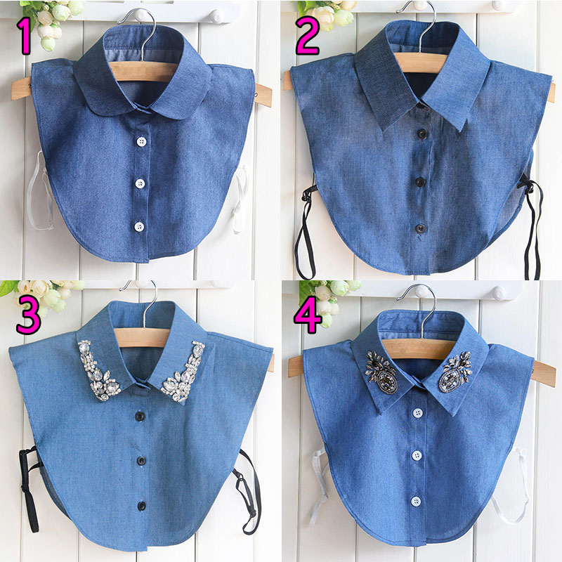 Newly Fake Collar Shirt Jeans Detachable False Collars Blouse For Women Clothes Tops