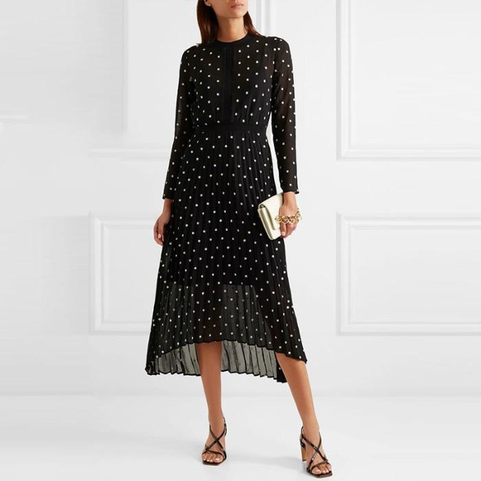 Flower Embroideried Asymmetric Midi Dress Matching Slip 2019 Summer Women Long Sleeve Black Contrast Embroidery Flower