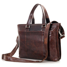 Chocolate Color Vintage Real Skin Genuine Leather Men Messenger Bags Cowhide Man Briefcase Portfolio #M7328