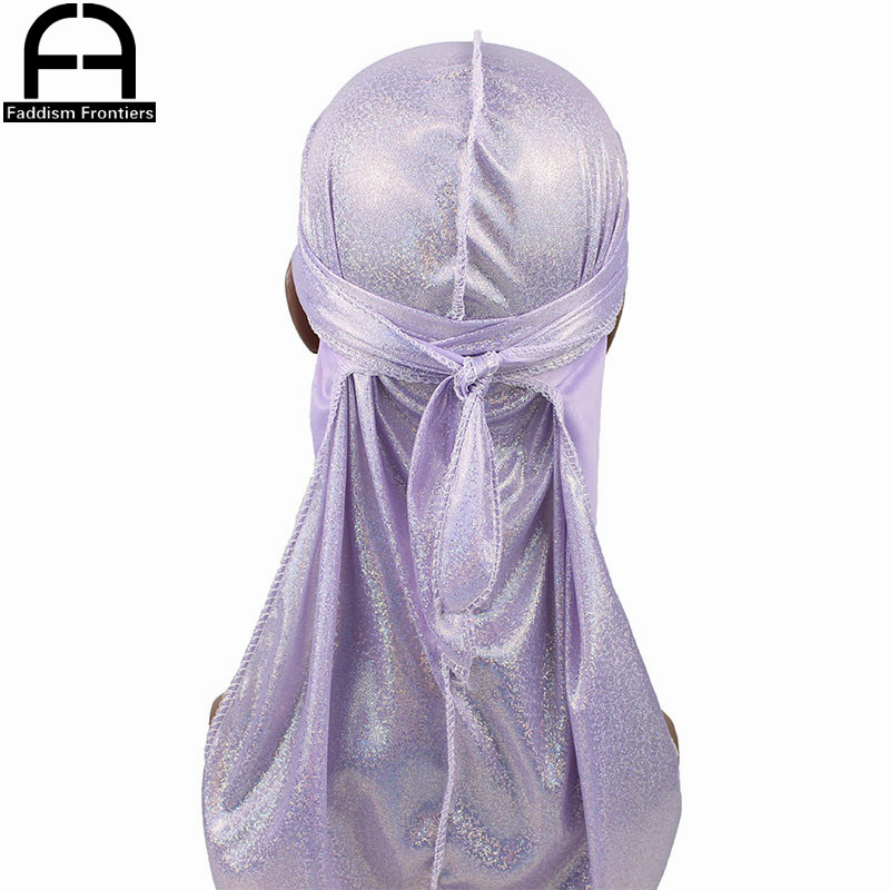 Men/'s Silky SPARKLY Durags Turban Men Shiny Du Rag Bandanas Hat Headwear New