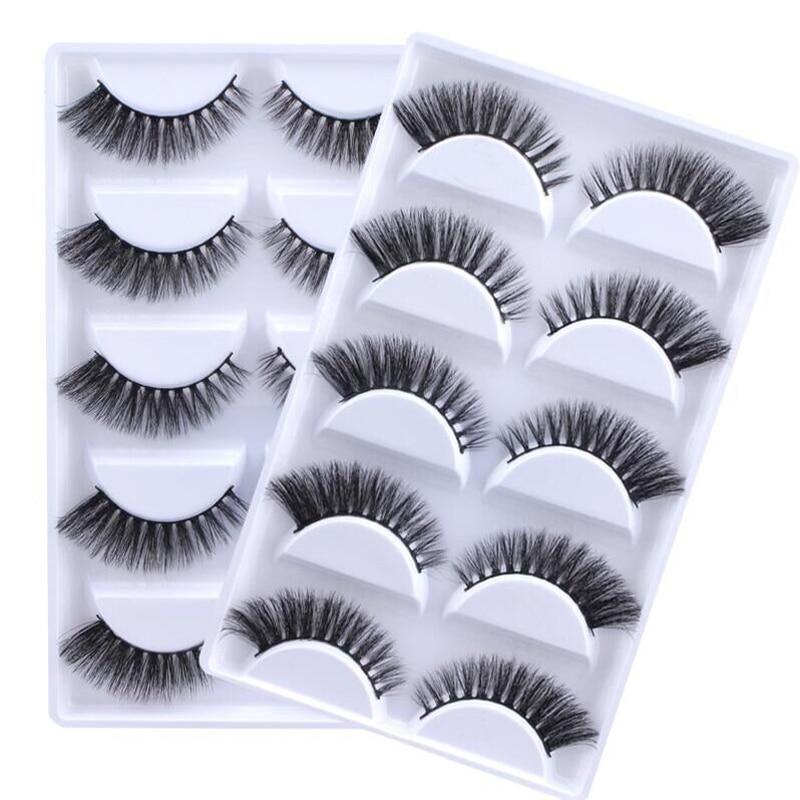 YOKPN 10 Box / Lot 3D Mink False Eyelashes Faux Real Fake Eyelashes Natural Extension Eye Tail Dense Thick Mink Hair Eye Lashes mink keer 10 5xl