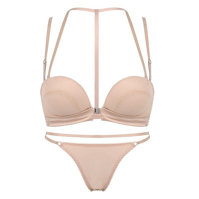 New Sexy Push Up Front Closure Lingerie Set Gathering Seamless Underwear 3/4 Cup Brassiere Women Bralette Bra And Panties Set 3