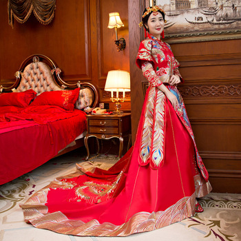 New embroidery style formal dress royal phoenix wedding cheongsam costume red bride vintage Chinese traditional Tang suit Qipao фото