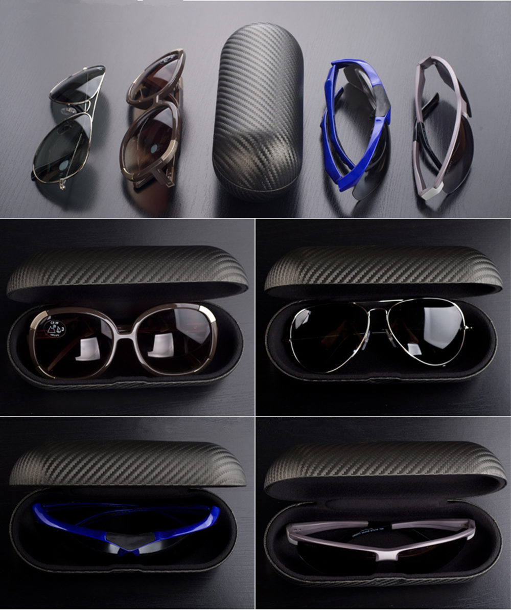 New 2020 Carbon Fiber Material Sunglass Case New Black Leather Men's Eyewear Case Ladies Glass Holder Protect Case