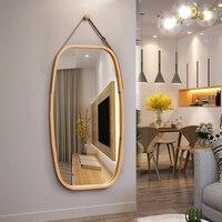 Nordic Fashion Style Bath Mirror Living Room Bedroom Hallway Wall Decoration Hanger Mirror Frame Toilet Dressing Mirrors Bath