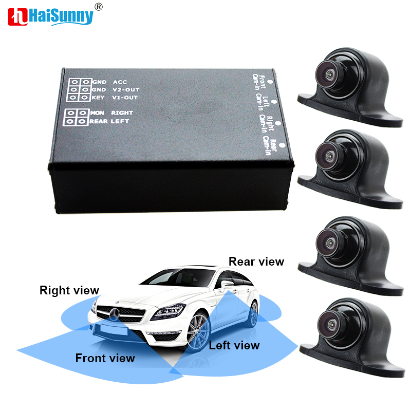 HaiSunny 4CH Parking Video Assistance System 360 Degrees 4 Way Front Rear Left Right Side Camera Switch System For Car Monitor