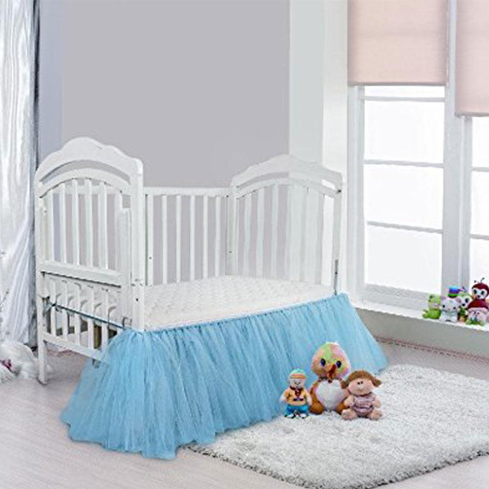 Ruffled Crib Skirt Pink Blue Neonatal Bedding Baby Bed Skirt Baby's Room Decoration