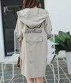 Plus size Longo Trench Coat Mulheres 2016 Outono Primavera Casual Bordado Com Capuz Trench Coats Feminino Fino Outerwear Casaco Solto