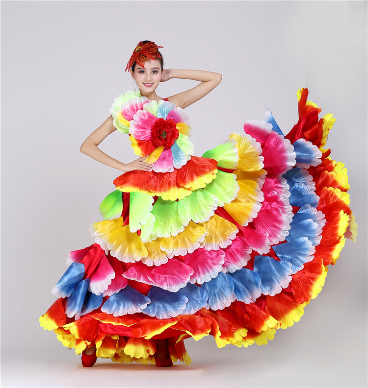 Spanish Flowers Dance Costume Flamenco Pakaian Tarian Big Swing Performance Dress Perempuan Pembukaan Peringkat Bunga Petal Skirt 360 540