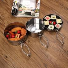 8Pcs/set Stainless Steel Outdoor Picnic Pot Pan Kit Camping Hiking Cookware Plate/Bowl/Cup/Pan Cover Cooking Set Kitchen Utensil