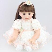 New 24″ 60cm Silicone Reborn Fridolin Doll Long Hair Princess Girl Brinqiedos Doll Reborn Baby Birthday Gift Toy