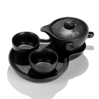 A pot of two cups of antique rough pottery with dry tea tray portable travel Kung Fu tea gift