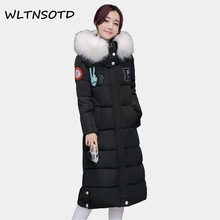 2017 winter women new clothing long big Fur collar cotton Hooded jacket Female Slim Badges pattern thicker parka warm coat