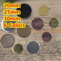 20mm, 25mm, 30mm 100 adet Antik Bronz/Gümüş/Altın/Siyah Yuvarlak Boş Cam için kolye Tepsiler Üs Cameo Cabochon Ayarı/Çıkartmalar