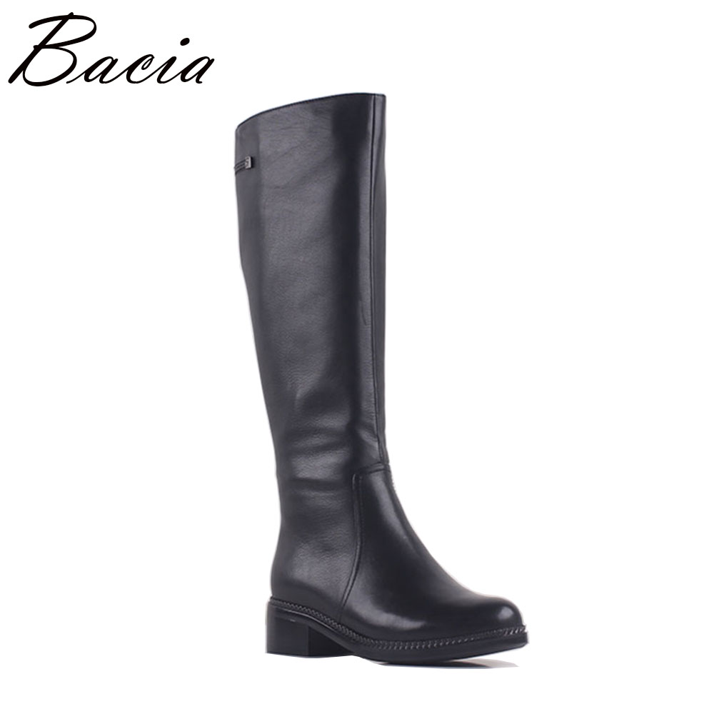 Bacia Natural Leather Boots New Lady Fashion Woman Genuine Leisure Boots Autumn Winter Low Heel Warm Fur Shoes Size 35-41 MA014